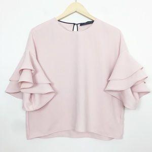 Zara | Pink Tiered Bell Flutter Sleeve Shirt Small